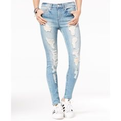 b3be1a6b86643 Ted Baker Kimle Ripped Skinny Jeans in Mid Blue. See More. Indigo Rein  Juniors  Ripped Medium Blue Wash Skinny Jeans ( 25) ❤ liked on