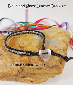 Black and Silver Leather Bracelet by Red Dirt Diva