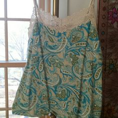Sweet Paisley camisole This is a very pretty camisole or top  heavier fabric to it beige lace around the front and the paisley print with turquoise and green and beige background or tan never wore it a.n.a Tops Camisoles