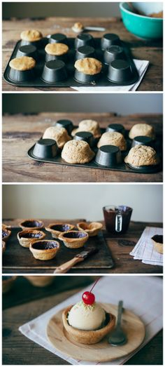 Ice cream in chocolate-lined peanut butter cookie bowls!