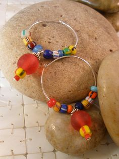 Sterling Silver Hoop Earrings with African Trade by MagnoliaStudio, $28.00