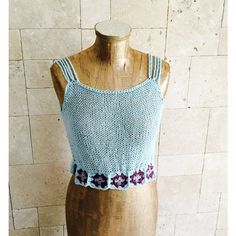 Summer Top Granny Square Top Crochet summer top knitted tank Light... ($37) ❤ liked on Polyvore featuring tops, crochet tank tops, crochet tank, summer tank tops, blue tank and sexy summer tops