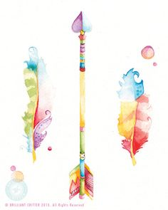 Feather Watercolor Print Arrow and Feather by BrilliantCritter