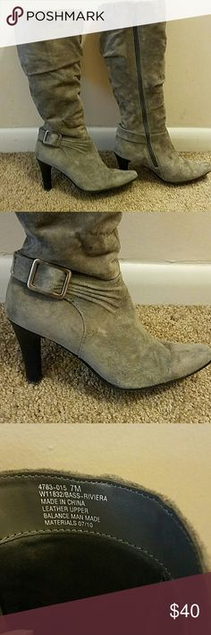 Bass Riviera size 7 boots Bass Riviera grey suede boots. Size 7 worn only a few times. Slightly worn on the heel. Very comfortable! Heel is about 3 inches and the whole boot is about 16 inches tall. Bass Shoes Heeled Boots