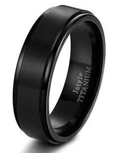 Jstyle Titanium Rings for Men Wedding Engagement Rings Promise 8MM Size 7-14 Black