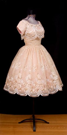 1950's Dress // Painted Gold Rose Ribbon Swags by GarbOhVintage