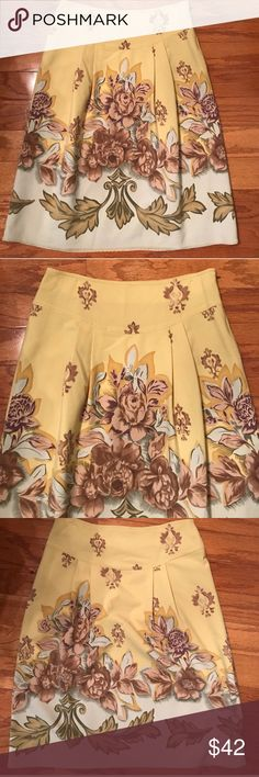 "🌷ANTHROPOLOGIE🌷 INTUITIONS FLORAL SKIRT🌷 This is an anthropology brand intuitions skirt was trying to figure out the color I would say it's like a chartreuse shot through with plum olive brown tan etc. side zipping  with Eyelet hook closure, fully lined it is actually listed as a size 2 inside but it feels to me I would say more like a four or six. Check the measurements.52% polyester 33% rayon 5% spandex measurements were taken flat waist 14"". Hips 18 1/2 length 24""🌷ANTHROPOLOGIE🌷…"