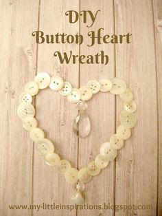 Button Heart Wreath with detailed tutorial.  Ghirlanda cuore di bottoni e goccia di cristallo con tutorial - My Little Inspirations #heart #valentinesday #sanvalentino #buttons