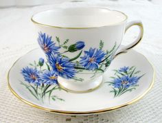 Royal Vale Blue Flower Tea Cup and Saucer
