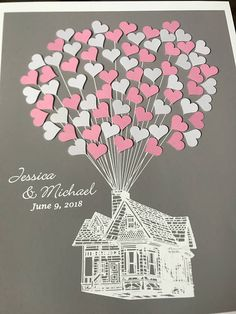 ♥♥♥ All available designs: http://www.etsy.com/shop/fancyprints?section_id=6965882 Movie UP Inspired Guestbook Alternative with Adhesive Hearts (available with balloons/ oval shapes & circles + custom color background)  Unique & Original Alternative to a Traditional Wedding Guest Book that will make a Very Special Wedding Gift! This design can be also personalized for any other event (Baby Shower, Birthday, Anniversary, Family Reunion & etc.)  *This a...