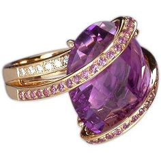 18k amethyst, pink saphhire  & diamond ring