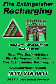 Fire Extinguisher Recharging Baltimore Township, MI (517)  316-9911) Call the Experts at Boynton Fire Safety Service.. We are the complete source for Fire Extinguisher Service for Local Michigan Businesses We would love to hear from you.. Call us Today!