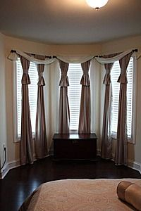Bay Window Curtains I Like The Swag Look But Not The Hanging Down Part