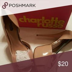 Open Toe Platform with Bow Brand new 5 inch heels with a 1.5 inch toe platform with gold accent. Charlotte Russe Shoes Heels