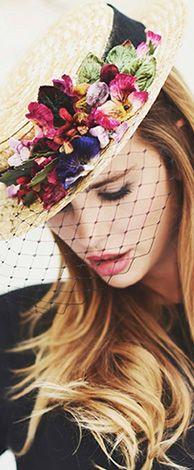 Canotier headdress straw ornament velvet and silk flowers The Boater Hat - Cherubina Sombreros Fascinator, Fascinators, Headpieces, Estilo Glamour, Boater Hat, Pillbox Hat, Fancy Hats, Flower Hats, Love Hat