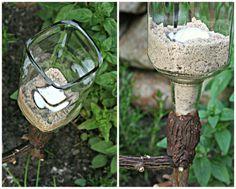 Gartenleuchte aus Flasche / Garden lights made of old bottles / Upcycling