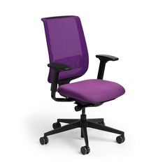 Purple Reply Task Chair, Adjustable Arms, Adjustable Lumbar,Purple