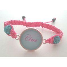 Bracelet personnalisé, fil rose perles bleues