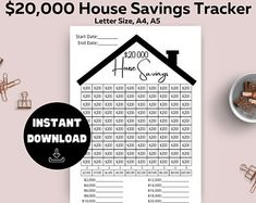 Savings Planner, Goals Planner, Budget Planner, Savings Goal, 52 Week Money Challenge, Savings Challenge, House Down Payment, Spending Tracker, Saving Tracker