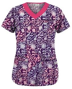 UA Fall Vineyard Eggplant Print Scrub Top Style # UA303FVE  #uniformadvantage #uascrubs #adayinscrubs #scrubs #printscrubs