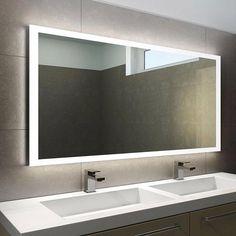Tv In Bathroom, Modern Bathroom Mirrors, Bathroom Mirror Makeover, Bathroom Mirror Lights, Large Bathrooms, Bathroom Design Small, Bathroom Interior Design, Light Bathroom, Bathroom Mirror Design