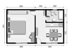 Resultado de imagen para planos de mini casas 1 dormitorio