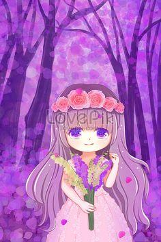 forest fantasy hand drawn purple 收藏自 lovepik