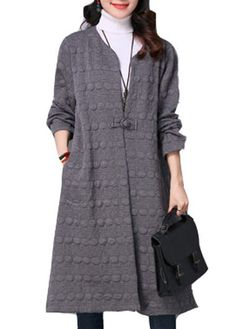 Faux Fur Collar Grey Long Sleeve Pocket Coat  on sale only US$47.69 now, buy cheap Faux Fur Collar Grey Long Sleeve Pocket Coat  at lulugal.com