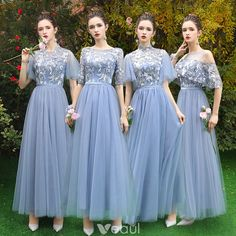 Discount Sky Blue See-through Bridesmaid Dresses 2019 A-Line / Princess Appliques Lace Floor-Length / Long Ruffle Backless Wedding Party Dresses Wedding Dresses Plus Size, Wedding Bridesmaid Dresses, Wedding Party Dresses, Bridal Dresses, Lace Bridesmaids, Elegant Dresses, Beautiful Dresses, Dress Brokat Modern, Entourage Gowns