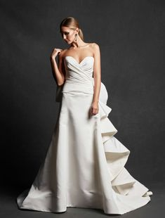 Isabelle Armstrong 'Rhonda' Strapless Draped Silk Faille A-Line Gown (In Stores… Discount Designer Wedding Dresses, Wedding Dresses For Sale, White Wedding Dresses, Wedding Suits, Wedding Gowns, Isabelle Armstrong Wedding Dresses, Strapless Gown, A Line Gown, Gowns Of Elegance