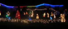 A Country Road full with Christmas Decorations and Christmas Lights