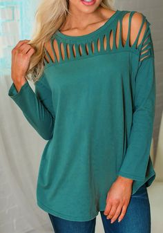 XL Shoulder Width(cm) : Bust(cm) : Length(cm) : Type : Slim Color : Green Decoration : Cut Out Material : Dacron Collar : Collarless Pattern : Plain Sleeve Length : Long Sleeve Wrap Shirt, T Shirt Diy, Cut Shirts, Dress Collection, Fashion Brands, Tunic Tops, Blouse, Long Sleeve, Sleeves