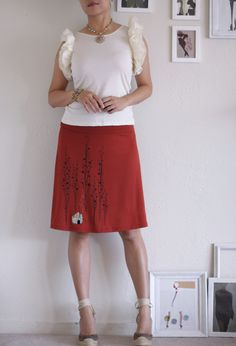Rusty Orange Jersey Knee Length Aline Skirt  by Zoeslollipop, $54.00