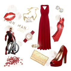 Avengers Ensemble - red evening gown fashion set inspired by Iron Man. #clothes #fashion #avengers #ironman