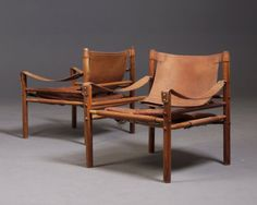 """Arne Norell; Safari chair """"Sirocco"""" for Möbel AB Arne Norell, Sweden, 1960's."""