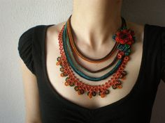 This is a crochet necklace made from quality cotton and acrylic fibers, seed and delica beads, with beaded crochet techniques.    The body