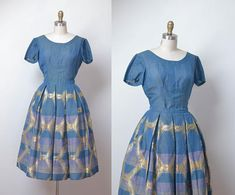 1950s Dress Set / 50s Woven Iridescent Dress