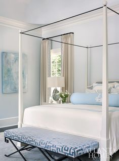 Home Tour: Sophisticated Style In Buckhead large monogram neck roll pillow on canopy bed White Bedroom Design, Blue Bedroom, Dream Bedroom, Bedroom Decor, Bedroom Ideas, Serene Bedroom, Cozy Bedroom, Bedroom Designs, Girls Bedroom