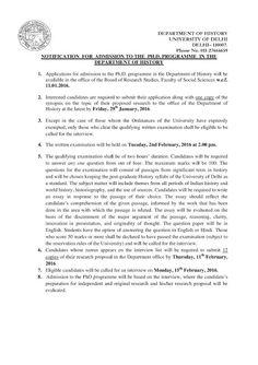 Ph.D. Admission Notice: University of Delhi Ph.D. Admission Notification 2...