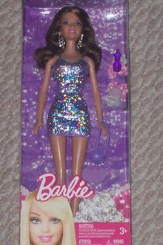 Barbie in Purple Sparkle Dress with Purse and Accessories. #Barbie #Purple #Sparkle #Dress #with #Purse #Accessories