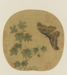 A moth and a leafy branch 1644-1911  Huang Jucai , (Chinese, 933-after 993) Qing dynasty  Color on silk H: 23.4 W: 23.8 cm China