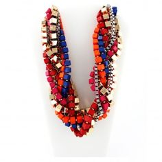 Statement Color Block #Necklace. This Statement Color Block Necklace will definitely make you the center of attention! With its deep hues of gold, blue, orange, red, pink, and silver, this necklace screams fashion! Color blocking is also an amazing way to capture an abstract look. DETAILS: http://www.lolafashionaccessories.com/products/Statement-Color-Block-Necklace.html $38