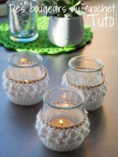 Crochet Christmas Gifts, Crochet Gifts, Diy Crochet, Crochet Jar Covers, Crochet Coaster Pattern, Beginner Crochet Projects, Christmas Jars, Tea Candles, Christmas Knitting Patterns