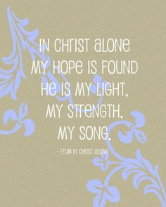 In CHRIST alone.