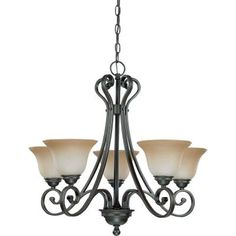 Glomar 5-Light Sudbury Bronze Arm Up Chandelier with Champagne Linen Glass Shade-HD-2742 - The Home Depot