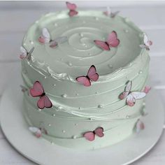 Butterfly Birthday Cakes, Pretty Birthday Cakes, Butterfly Cakes, Pretty Cakes, Beautiful Cakes, Amazing Cakes, Birthday Cake For Women Simple, Cakes With Butterflies, Simple Birthday Cake Designs