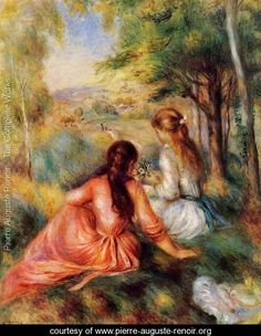 Picking Flowers Aka In The Field  Pierre Auguste Renoir