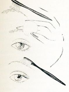 Classic eyebrow makeup tips. Prepare before plucking or tweezing plus seven tips for eyebrow correction 1970s Makeup Eyes, Makeup Ads, Eyebrow Makeup Tips, Makeup Guide, Hair Again, One Hair, 1970s Makeup Tutorial, Pencil Test, Eye Parts