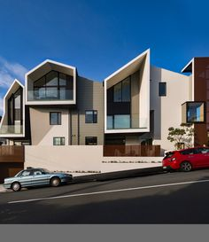 Parsonson Architects created this beautiful 9-apartment block - like a wee village - on a 560 sq m site in Wellington NZ.