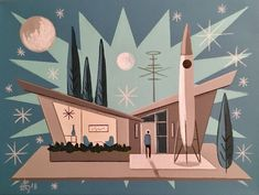 EL GATO GOMEZ PAINTING RETRO MID CENTURY MODERN ATOMIC RANCH SCI-FI SPACE 1950'S